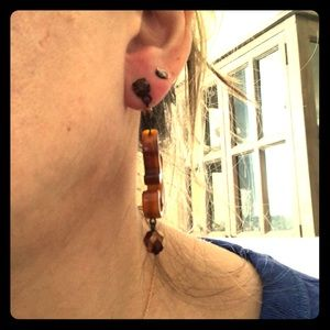 Brown drop earrings made in Italy